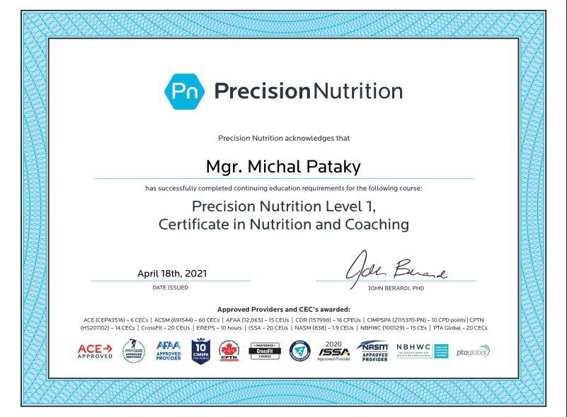 Michal Pataky PN certifikát