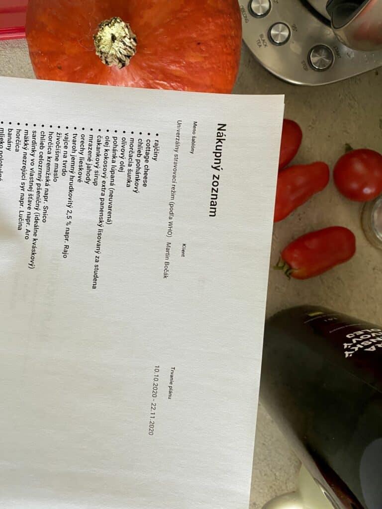 jedalnicek namieru - nakupny zoznam